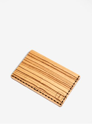 Svetlohnedý drevený vizitkár BeWooden Lineea Note