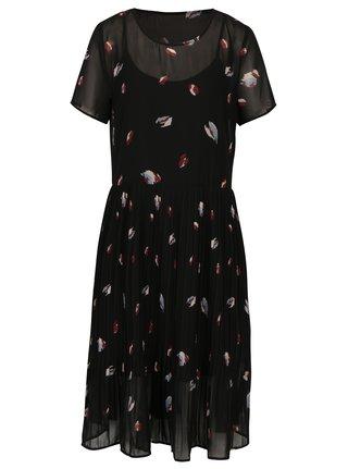 Čierne vzorované šaty s plisovanou sukňou Selected Femme Fiffi