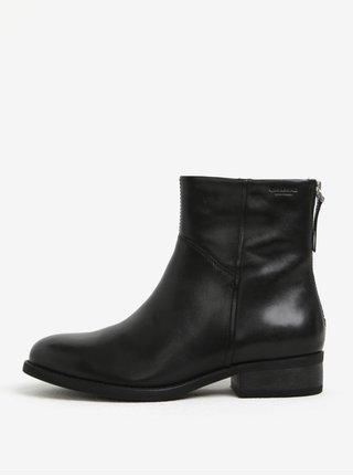 Černé dámské kožené kotníkové boty s umělým kožíškem Vagabond Cary
