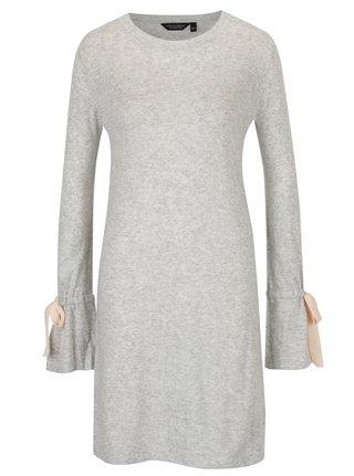 Šedé žíhané svetrové šaty s mašlemi na rukávech Dorothy Perkins