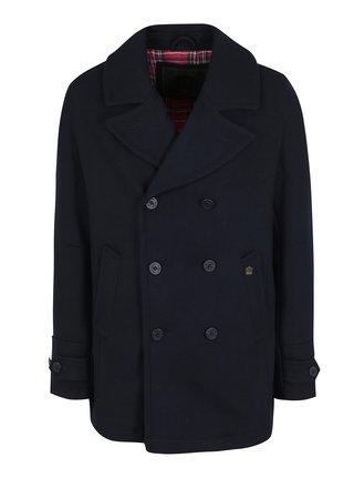 Tmavomodrý vlnený kabát Merc