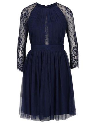 Tmavomodré tylové šaty s dlhým čipkovaným rukávom Little Mistress