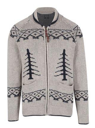 Cardigan tricotat bej cu model bleumarin si fermoar Jack & Jones Vintage Henderson