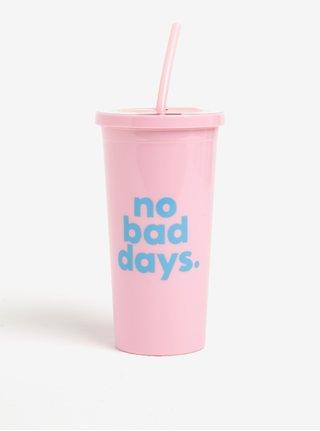 Růžový cestovní hrnek s brčkem ban.dō No bad days 590 ml
