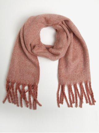 Ružový melírovaný šál so strapcami Pieces Ally