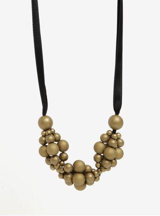Dřevěný náhrdelník v černo-zlaté barvě KO-RA-LE Wav