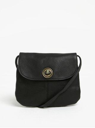 Černá kožená crossbody kabelka Pieces Totally Royal