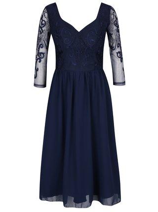 358349885a49 Tmavomodré šaty s tylovou sukňou Chi Chi London Nisha