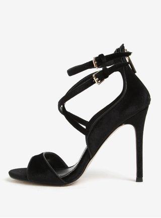 Sandale negre din catifea cu toc cui si barete incrucisate - Miss KG Faleece