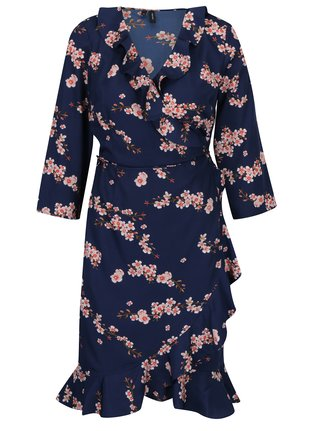 Tmavě modré květované zavinovací šaty VERO MODA Henna