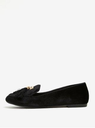 Pantofi loafer negri din catifea cu ciucuri si detalii aurii - Miss KG Madeline