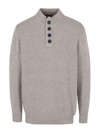 Béžový žíhaný svetr s knoflíky JP 1880