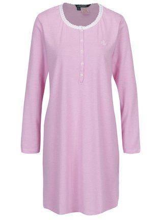 Camasa de noapte alb & roz cu print in dungi - Ralph Lauren Henley
