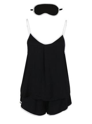 Černý set dvoudílného pyžama s bílým lemem a masky na spaní DKNY