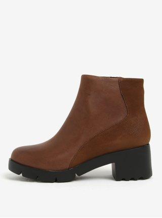 Hnědé dámské kotníkové kožené boty na podpatku Camper Lucy