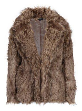 Hnedý krátky kabát z umelej kožušiny Miss Selfridge