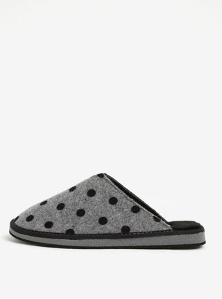 Papuci gr de casa cu buline negre pentru femei - OJJU