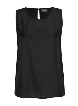Čierny lesklý top bez rukávov VILA Shimmer
