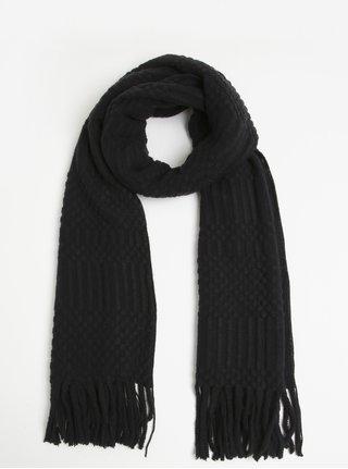 Čierny šál so strapcami Pieces Vera