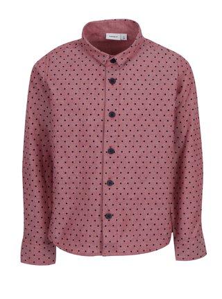 Růžová klučičí puntíkovaná košile name it Ilasy