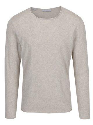 Béžový melírovaný sveter s prímesou hodvábu Selected Homme Dome