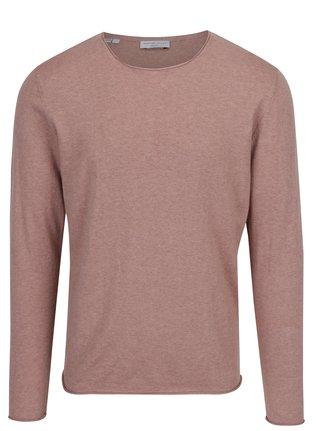 Staroružový melírovaný sveter s prímesou hodvábu Selected Homme Dome