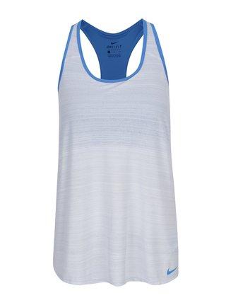 Modro-krémové dámské funkční tílko s všitou podprsenkou Nike
