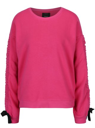 Bluza sport roz  inchis cu panglici la maneci - ONLY Winnie