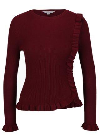 Vínový sveter s volánmi Miss Selfridge Petites