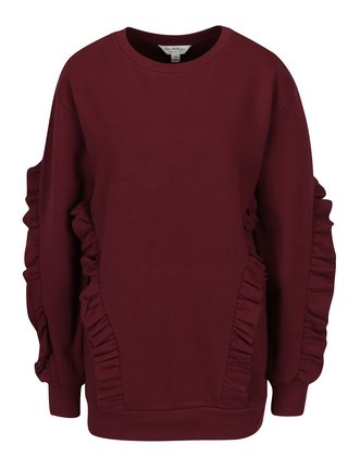 Bluza bordo cu volane  Miss Selfridge
