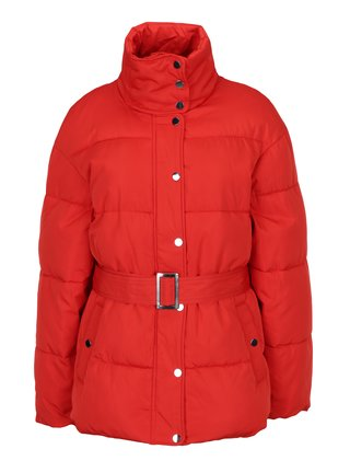 Červená prošívaná bunda s páskem Miss Selfridge