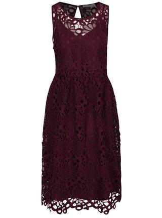 Vínové krajkové midi šaty VILA Dalton