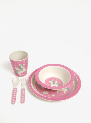 Set roz de mancare pentru copii din plastic eco Sass & Belle