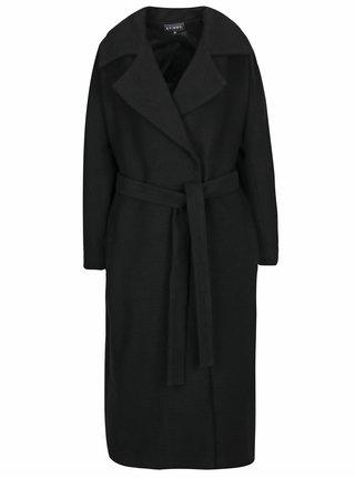 Palton negru oversized cu cordon Kvinna