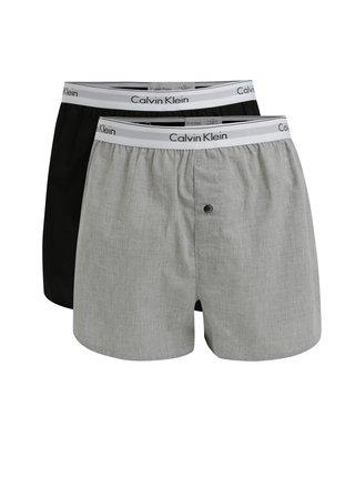Set de 2 perechi de boxeri gri & negru cu logo - Calvin Klein