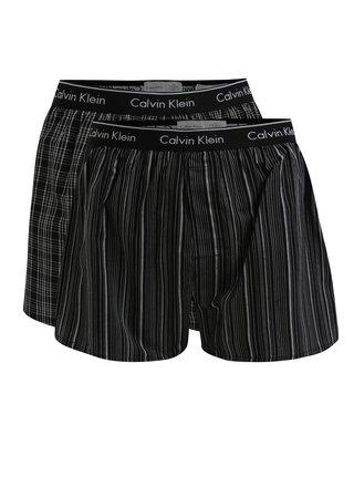 Set de 2 perechi de boxeri negri cu print si logo -  Calvin Klein