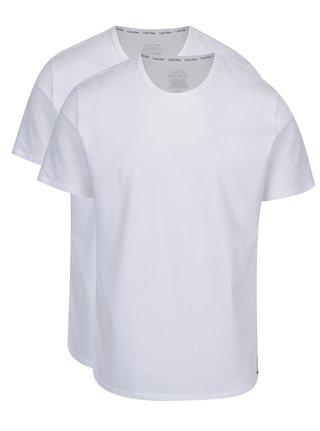 Súprava dvoch pánskych bielych slim fit tričiek pod košeľu Calvin Klein Underwear