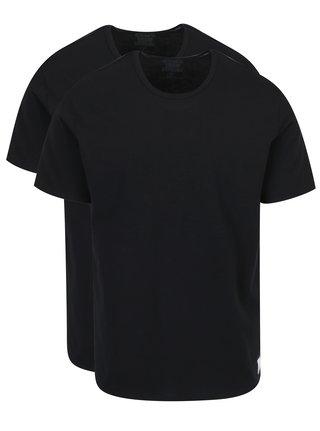 Súprava dvoch pánskych čiernych slim fit tričiek pod košeľu Calvin Klein Underwear