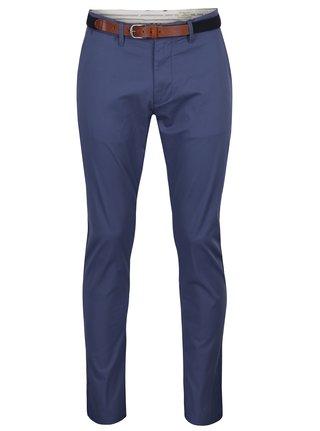 Pantaloni chino slim fit albastri cu curea maro - Selected Homme Hyard