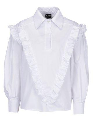 Biela dámska oversize košeľa s volánmi BLUZAT