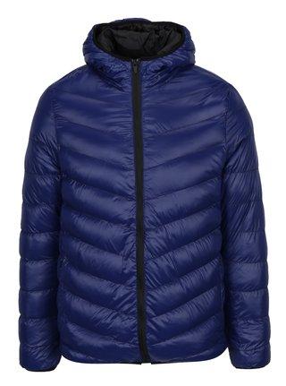 Modrá lesklá prešívaná bunda s kapucňou Burton Menswear London