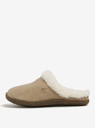Béžové dámske semišové papuče s umelým kožúškom SOREL