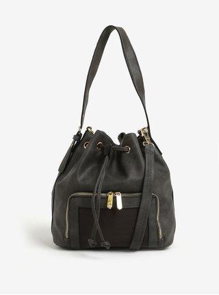 Tmavosivá vaková kabelka detailmi v zlatej farbe Bessie London