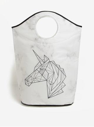 Krémový koš na prádlo s geometrickým motivem jednorožce Butter Kings