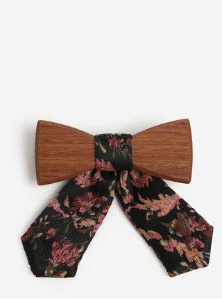 Papion din lemn cu funda textila pentru femei - BeWooden Rosis