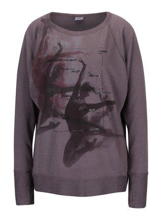 Bluza violet prafuit cu print - DEHA