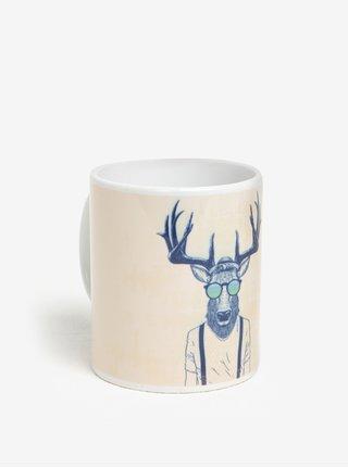 Cana ceramica crem cu ren hipster - Butter Kings