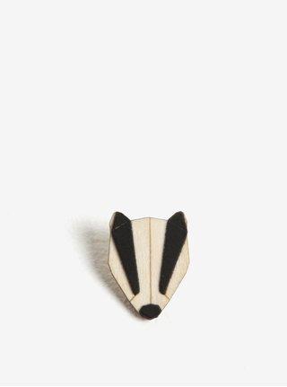 Dřevěná brož ve tvaru jezevce BeWooden Badger Brooch