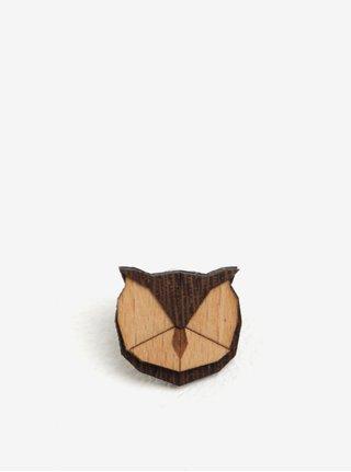 Drevená brošňa v tvare sovy BeWooden Owl Brooch