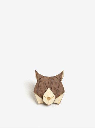 Brosa din lemn in forma de ras - BeWooden Lynx Brooch